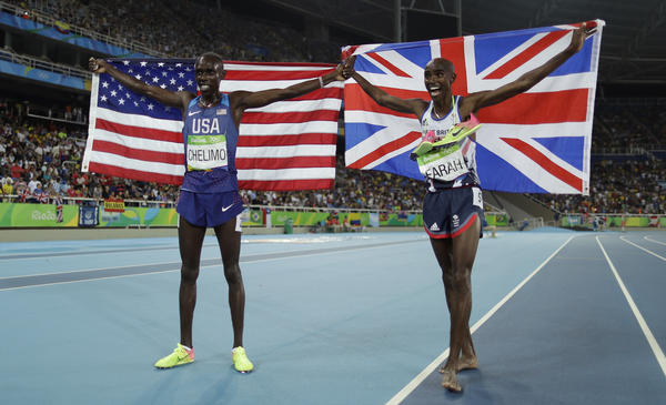 American Paul Chelimo (left), a member of the U.S. Army, celebrates his silver medal in the men's 5,000 meters along with the winner, Mo Farah of Britain. Chelimo was disqualified shortly afterward, but his second-place finish was later reinstated.