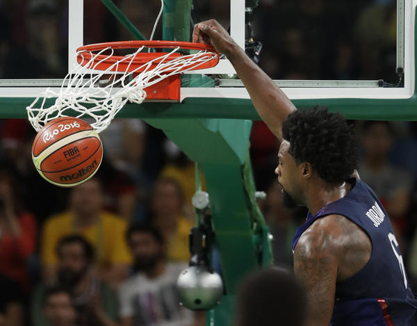 United States' DeAndre Jordan dunks against Serbia during the men's gold medal basketball game in Rio on Sunday. The U.S. won 96-66.