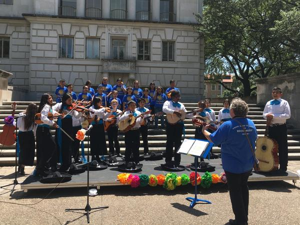 Angela Machado and her third-grade class perform at the University of Texas's Cinco de Mayo festivities.