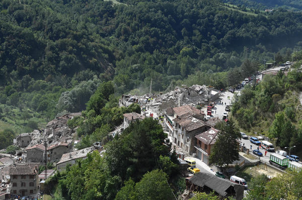 An overview of Pescara del Tronto shows damage caused by an earthquake early Wednesday morning. Numerous buildings have collapsed in mountain towns near the quake in central Italy.