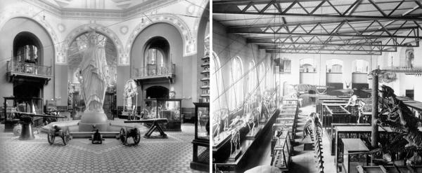 (Left) The original plaster model of Thomas Crawford's <em>Statue of Freedom,</em> which sits atop the dome of the U.S. Capitol, was displayed in the Arts and Industries Building's rotunda for several decades beginning in 1890. (Right) A view of the building's Paleontology and Comparative Anatomy Exhibit from the 1880s shows the skeletons of mammals, marine mammals and a giant sloth.