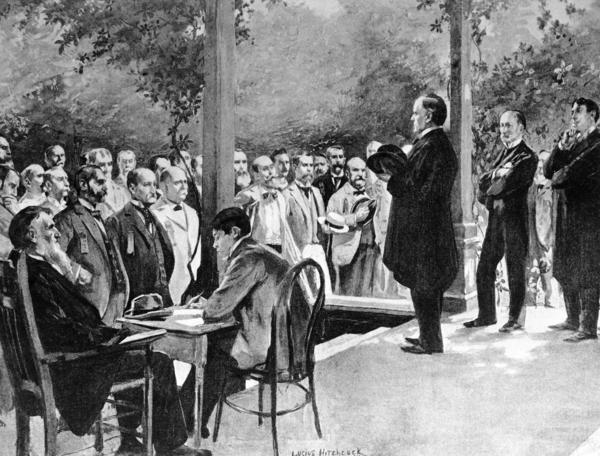 Republican William McKinley makes an elaborate front-porch campaign speech at his home in Canton, Ohio, in 1896.