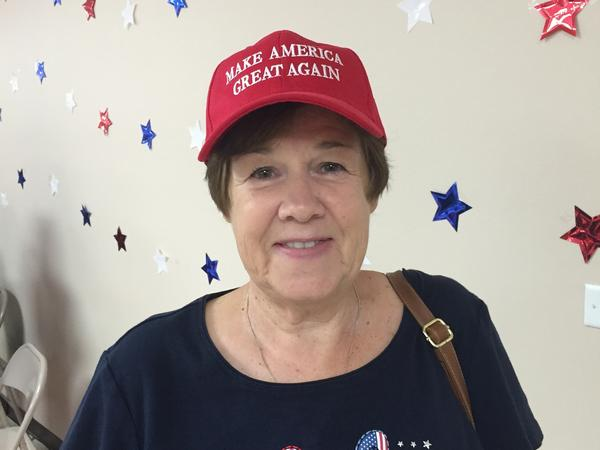 "Judy Callahan says she supports Trump but listens ""to half of what Trump says."""