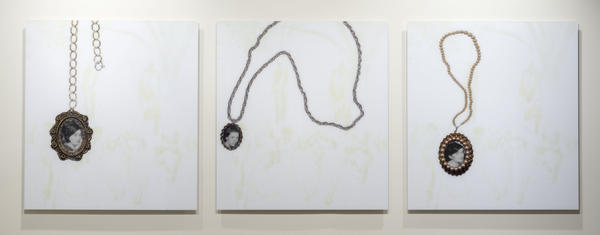 "The three faces that appear in Kerry James Marshall's 2002 <em>Heirlooms and Accessories</em> are taken from a 1930 photograph of a double lynching in Marion, Ind. You can hear Marshall talk about this work<strong> <a href=""https://vimeo.com/45605233"">here.</a></strong>"
