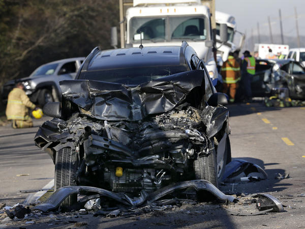 The scene of a multivehicle pileup in Louisiana three years ago. National traffic safety officials say more than 35,000 people died on the nation's roads and highways last year, a 7.2 percent increase over the previous year.