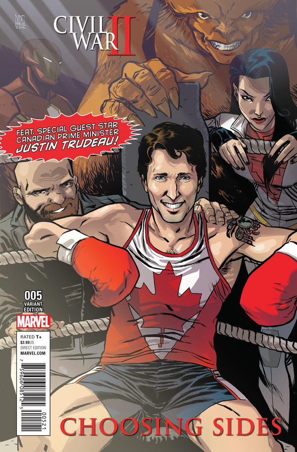 The cover of Marvel's <em>Civil War II</em> features Canadian Prime Minister Justin Trudeau in a boxing ring.