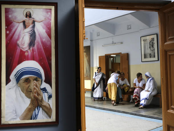 Catholic nuns attend visitors at the Missionaries of Charity house in Kolkata on Aug. 26.