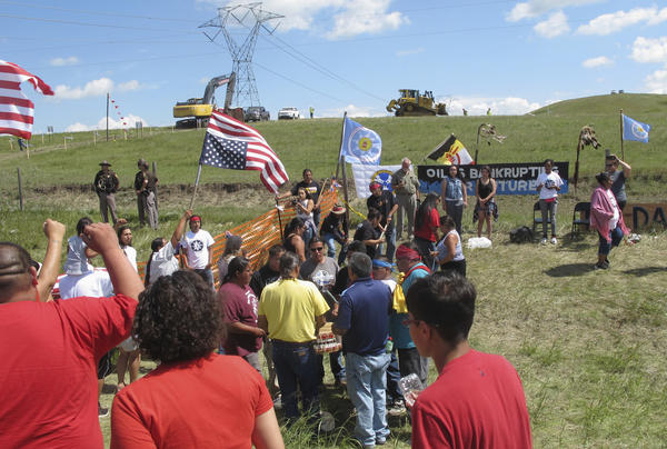 Native Americans protest the Dakota Access oil pipeline near the Standing Rock Sioux reservation in southern North Dakota.