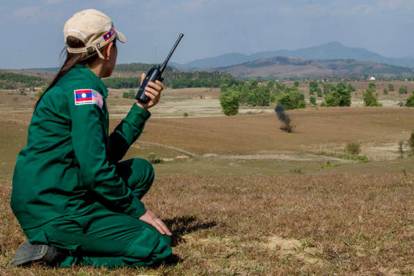 """MAG's Provincial Operations Manager overseas a controlled demolition of cluster munitions or """"bombies"""" found during MAG's UXO clearance operations in XK Province."""