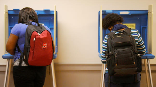 North Carolina State University students vote in the March 15 primary in Raleigh. The primary was the state's first use of its voter ID law.