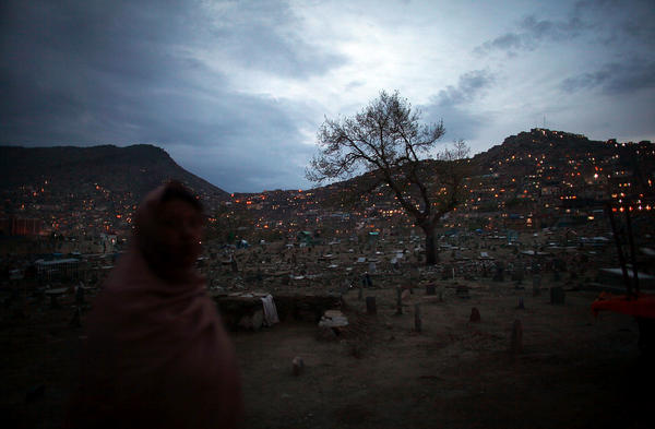 A view from the Kart-e-Sakhi  neighborhood in Kabul in 2012 shows lights ablaze. In the Taliban years, electricity in the city was sporadic.