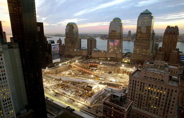 The sun sets on the ground zero site in 2002, the evening before the one year anniversary of the attacks on the World Trade Center in New York City.