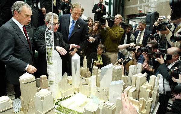 Architect Daniel Libeskind (second from left) presents his winning design for the World Trade Center site to New York Gov. George Pataki (third from left) and New York City Mayor Michael Bloomberg (left) at a media conference in 2003. Libeskind's design was selected as the winning site plan by the Lower Manhattan Redevelopment Corp.