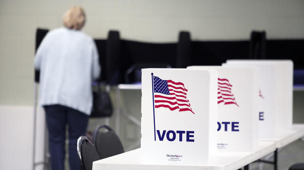 A resident votes in the Michigan primary on March 8 in Royal Oak, Michigan.