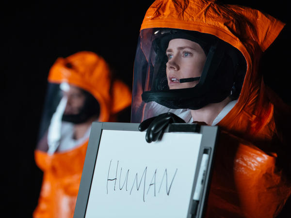 Amy Adams (right) as Louise Banks in <em>Arrival</em>.