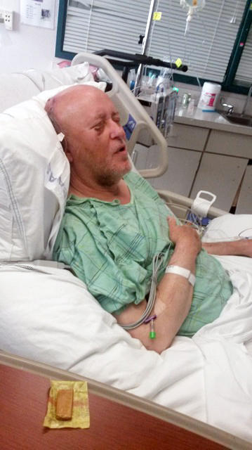 An acute subdural hematoma, a clot of blood in the tissue surrounding the brain, put pressure on Page's brain. Surgery was required to save his life.