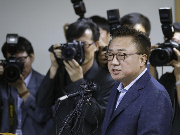 Dongjin Koh, president of Samsung Electronics' mobile business, speaks at a news conference in Seoul on Sept. 2.