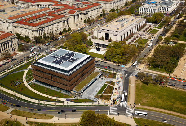 The National Museum of African American History and Culture stands in the last open spot along the National Mall.