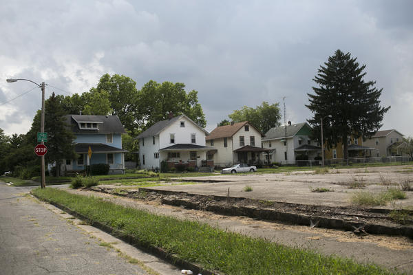 An empty lot where a factory once stood in Springfield, Ohio. The city's population has declined about 27 percent since 1970.
