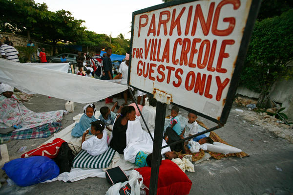 Volunteers ran a triage center for earthquake survivors at the parking lot of the Villa Creole. This photo was taken on Jan. 14, 2010.