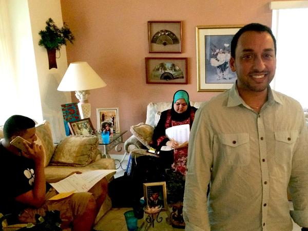 Farooq Mitha, national Muslim outreach director for the Clinton campaign, at an Orlando phone bank for Hillary Clinton. Mitha travels to swing states to organize and mobilize Muslim voters.