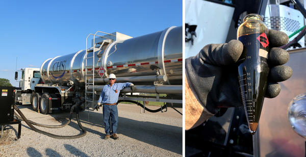 Scott Zimmerman, an oil hauler for the CHS refinery, tests the oil using a centrifuge built into his truck in Rice County, Kan.