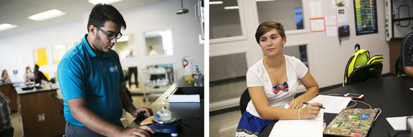 (Left) Mustafa Haleem, a junior at the Global Impact STEM Academy, likes the environment and classroom style the school offers, as well as the use of technology. (Right) Addison Keener, a freshman at Global Impact, works on homework.