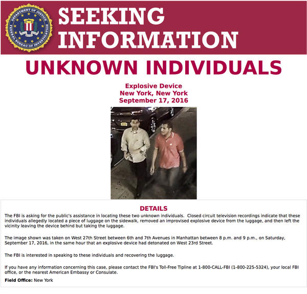 Authorities in New York are looking to talk to two unknown individuals who may have accidentally disabled a bomb on the streets of New York.