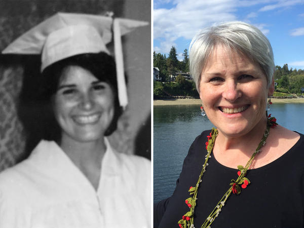 Sharon Griggins in 1972 and in 2016.
