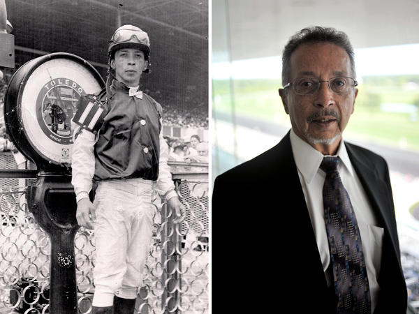(Left) Eddie Arroyo weighs in at Arlington Park in Chicago in the late 1960s. (Right) Eddie Arroyo at the same park in July 2016.