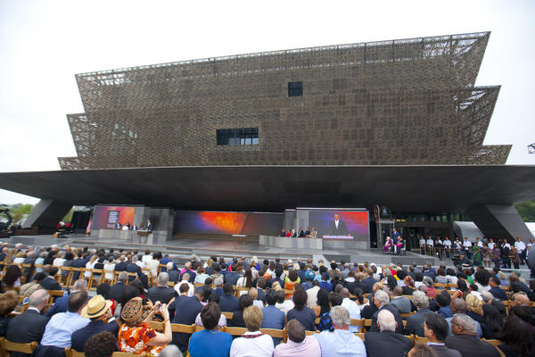President Obama speaks during the dedication ceremony for the Smithsonian National Museum of African American History and Culture on the National Mall in Washington.
