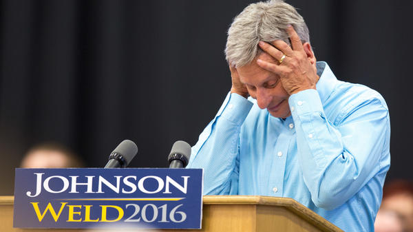 Libertarian presidential candidate Gary Johnson at a campaign rally earlier this month.