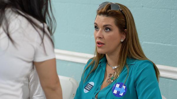 Alicia Machado campaigns for Hillary Clinton on Aug. 20 in Miami.