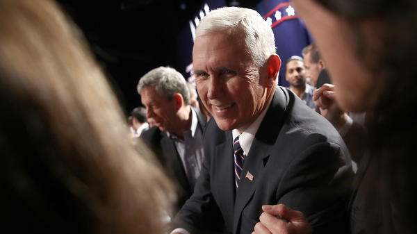 Republican vice presidential nominee Mike Pence attends the Presidential Debate at Hofstra University on Sept. 26 in Hempstead, N.Y.