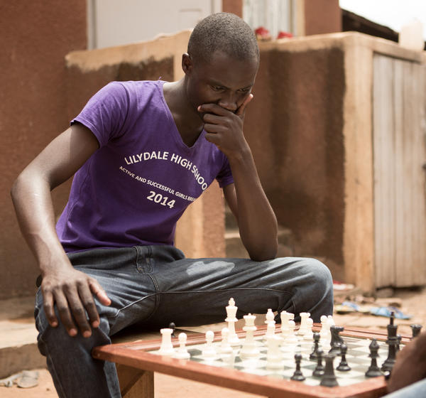 """Brian Mugabi, 22, says, """"Chess is helping me to become a good planner."""""""