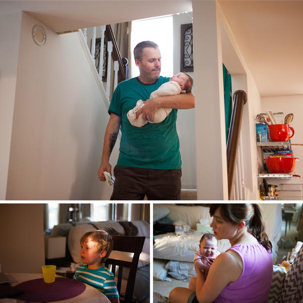 (Top) Just after Mike gets home Olivia wakes up from a short nap. (Left) Benjamin eats dinner after getting home from preschool. Mike picks him up every day on his way home from work. (Right) Stephanie holds Olivia after prepping dinner for the family.