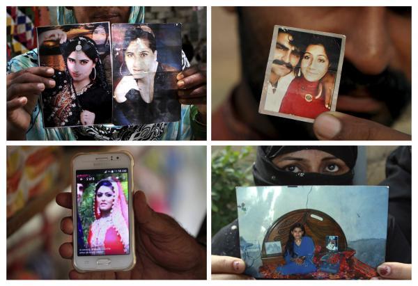 "Four victims of ""honor"" crimes in Pakistan: Qandeel Baloch, (top left); Muqadas Tofeeq (top right); Samia Shahid (bottom left); and Tasleem Solangi."
