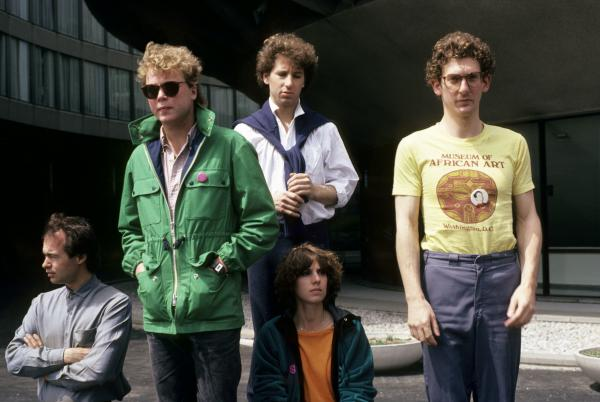 Robert with Urban Verbs in 1980. Left to right: Robin Rose, Danny Frankel, Robert Goldstein, Linda France, Roddy Frantz.