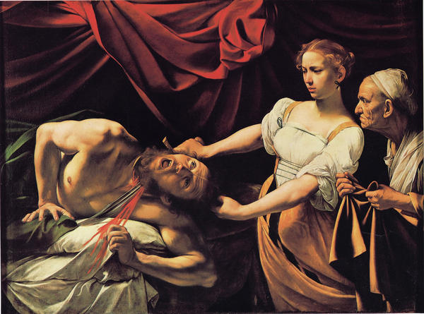 "Hockney says late 16th century Italian painter Caravaggio ""invented Hollywood lighting,"" as demonstrated (above) in his 1599 work, <em>Judith Beheading Holofernes.</em>"