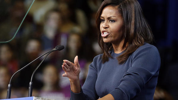 First lady Michelle Obama spoke at length about Donald Trump's comments about women at a rally for Hillary Clinton Thursday.