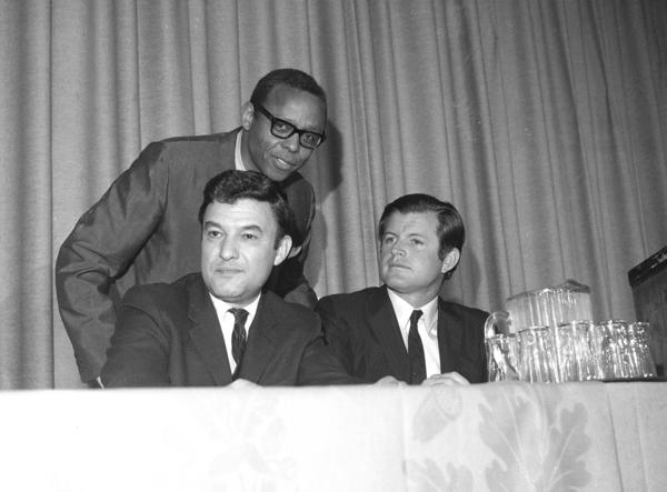 Jack Greenberg (left), seated next to Sen. Ted Kennedy and the Rev. M. Moran Weston in 1969.