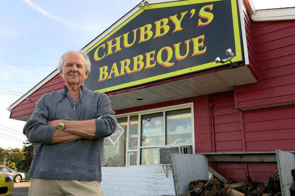 Tom Caulfield owns Chubby's Barbeque in Emmitsburg, Md., and agreed to have a Trump campaign sign put on his property. He's not worried it will hurt business — even among customers traveling Route 15 who disagree with his politics.