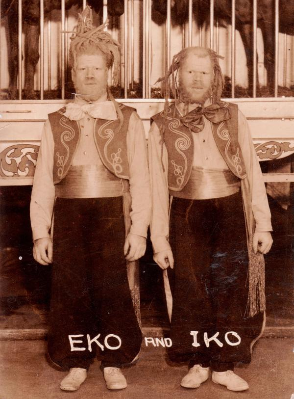 George and Willie Muse were frequently exhibited as Eko and Iko, dubbed the Sheep-Headed Men, or sometimes Ambassadors from Mars.