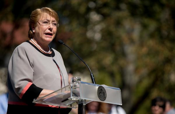 Chilean President Michelle Bachelet speaks during a visit to Washington on Sept. 23. Bachelet favors easing a law that has banned all abortions in Chile since 1990. But social conservatives in the South American nation oppose changes to the law.