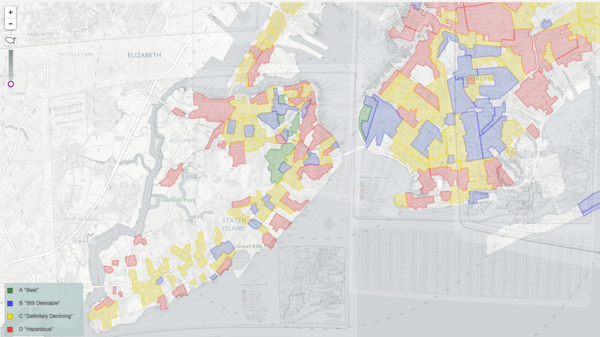 "Overlapping maps of the five boroughs of New York were combined in ""Mapping Inequality,"" to show redlining across the entire city."