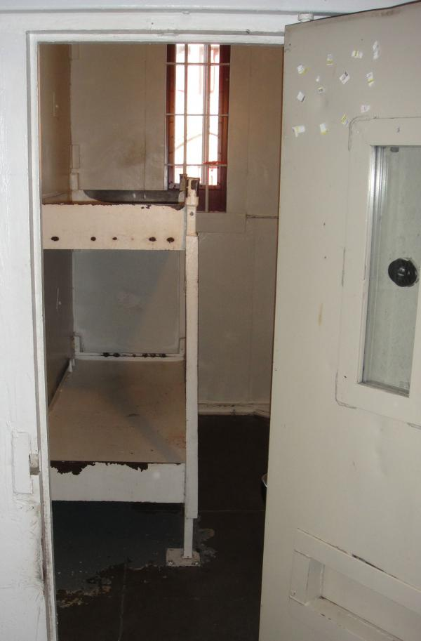 Interior of a double solitary cell in the Lewisburg federal penitentiary.