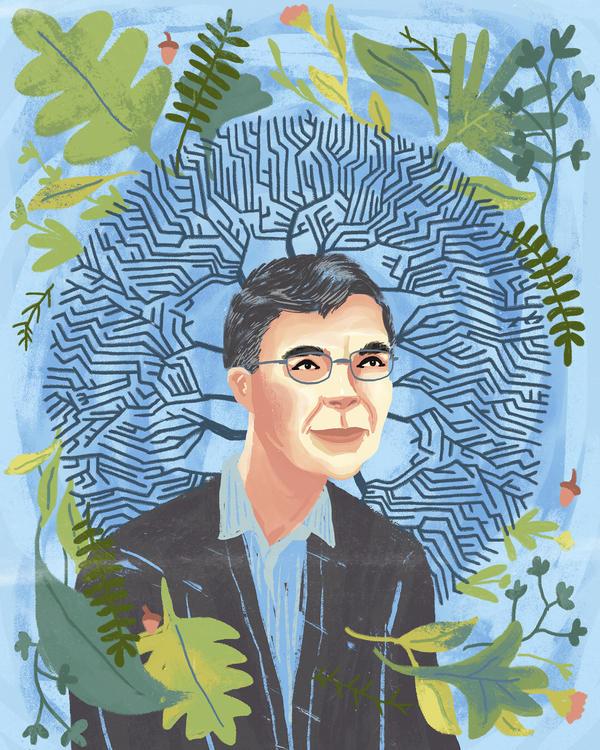Illustrated portrait of Nobel Laureate, Carl Wieman