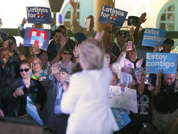 "Hillary Clinton waves to supporters at a ""Latinos for Hillary"" grass-roots event last year in San Antonio."