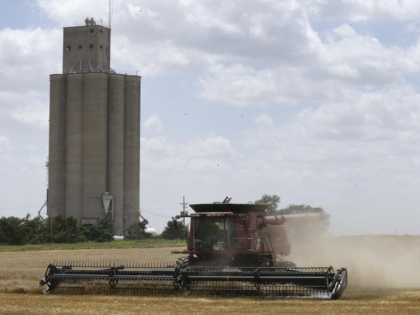 A combine harvests wheat by a grain elevator near Mayfield, Kan.