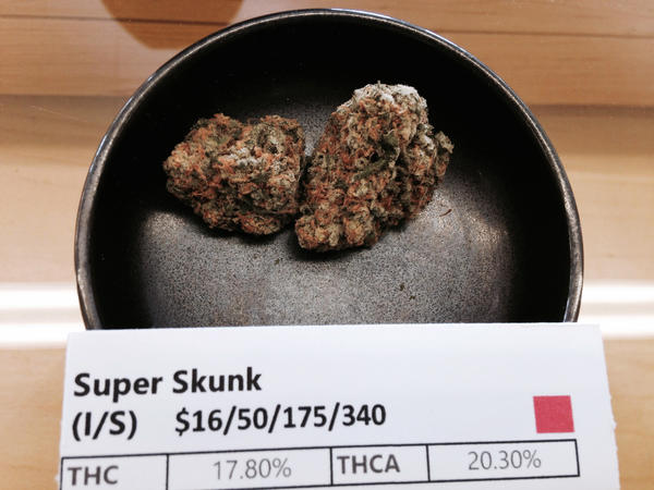 Super Skunk is one of the many different kinds of marijuana sold at Harborside Health Center.